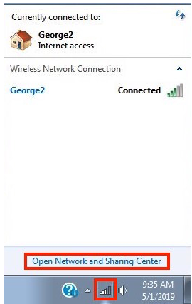 "Step 1 of finding your local IP on Windows 7 is to click ""Open Network and Sharing Center""."