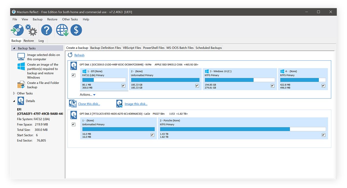 The Macrium Reflect hard drive cloning tool for Windows