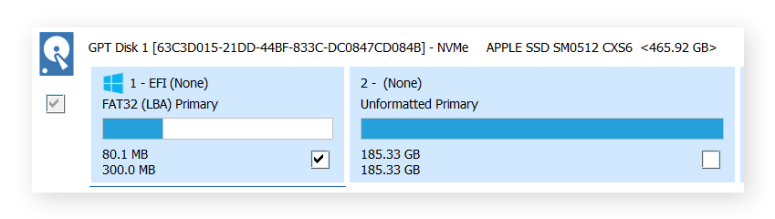 Selecting the drive partitions to be cloned in Macrium Reflect for Windows