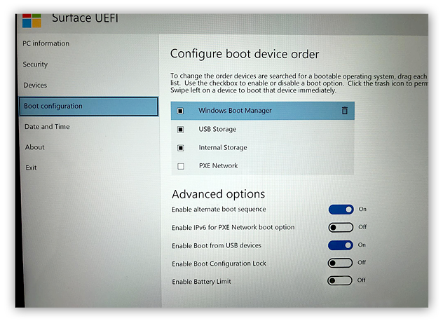 Configuring the boot order within the UEFI in Windows