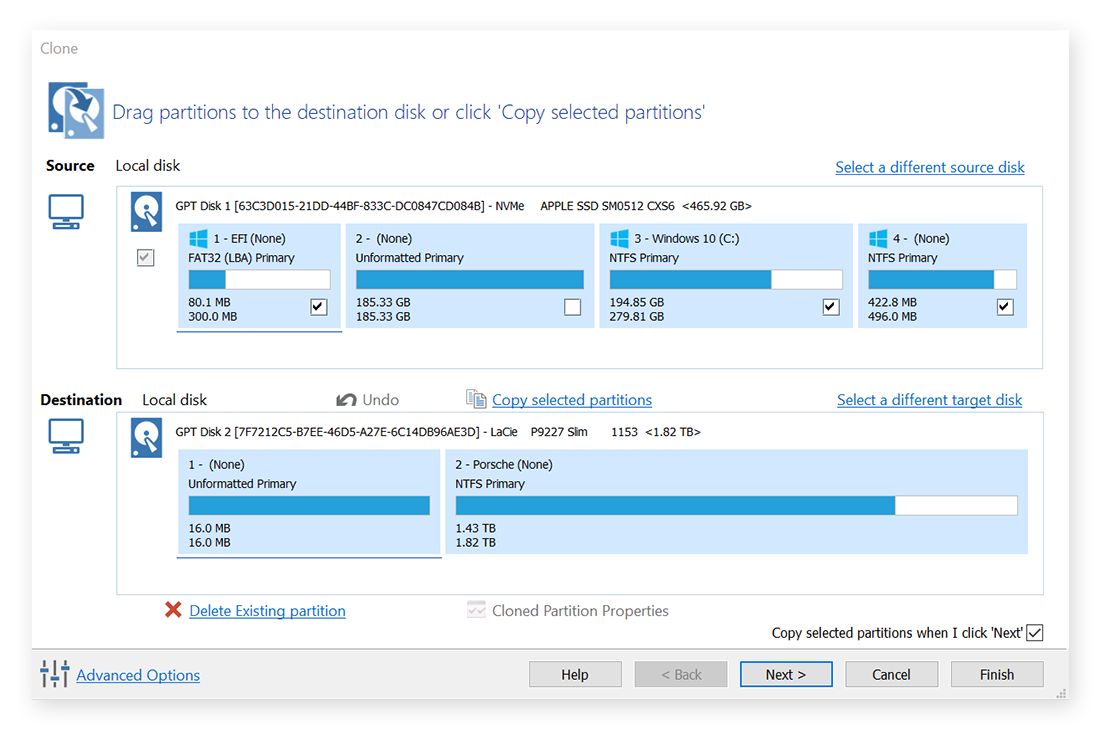 Cloning a hard drive in Macrium Reflect for Windows