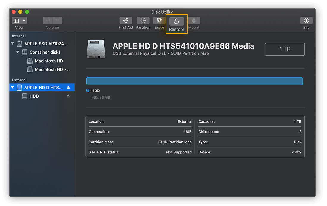 Selecting a destination drive to Restore in Disk Utility for macOS Catalina