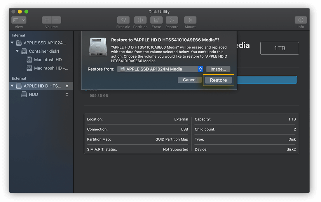 Selecting a source drive to Restore from in Disk Utility for macOS