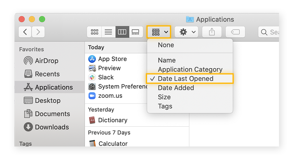 Finding the apps you haven't used lately via Applications in macOS