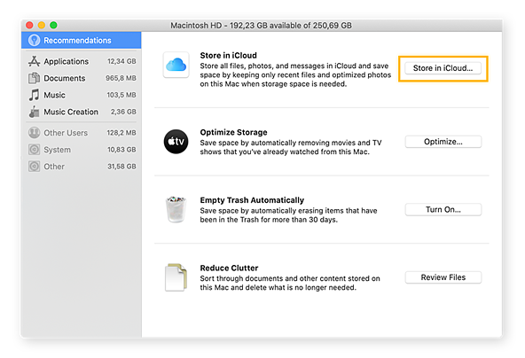 macOS offers a few options to help you optimize your storage space.
