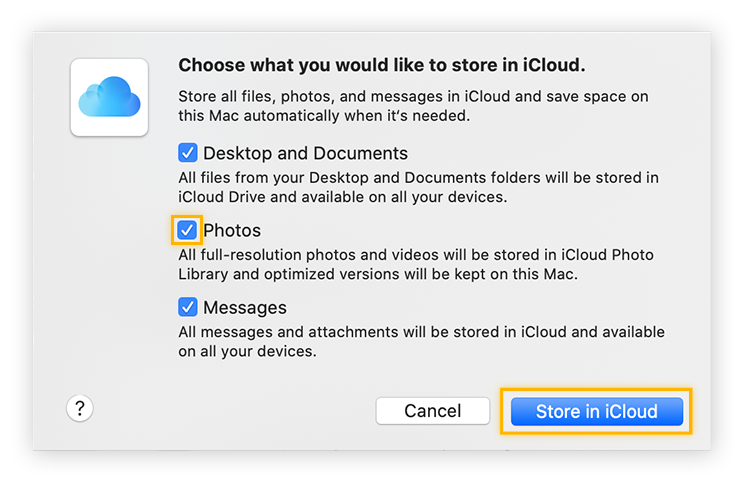Choosing photos and files to store in iCloud.