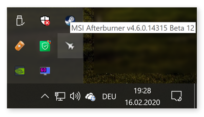 Opening MSI Afterburner from the Windows 10 taskbar
