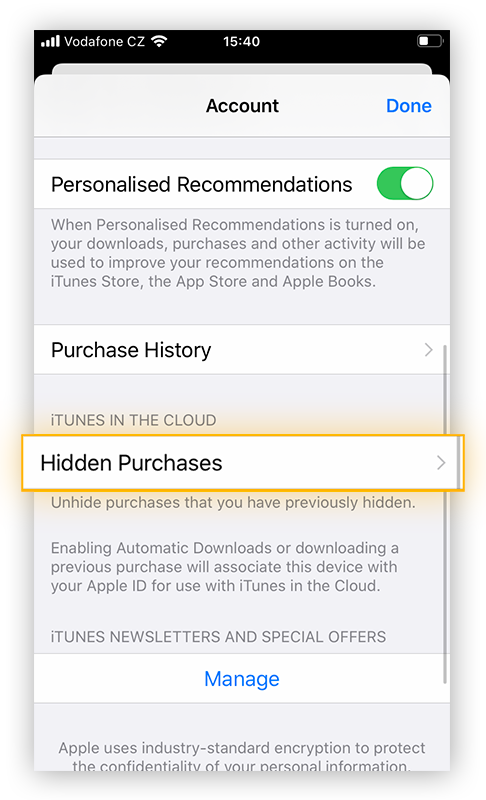 """To find apps you hid the purchase of, tap """"Hidden Purchases""""."""