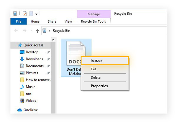 Restoring a file from the Recycle Bin in Windows 10