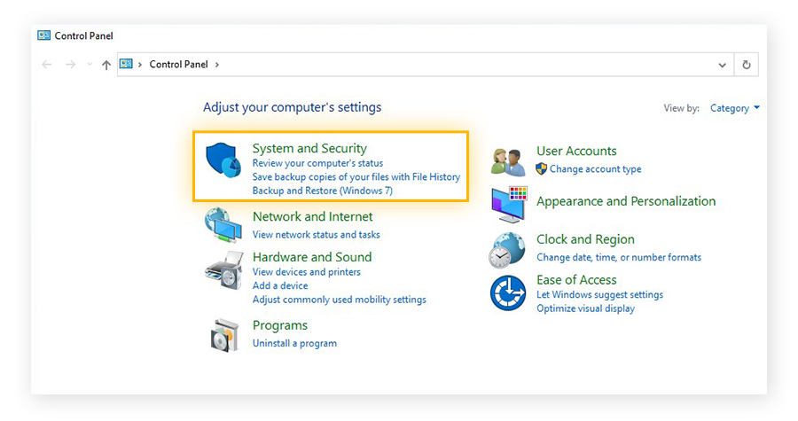 The Control Panel in Windows 10 with the System and Security section highlighted.