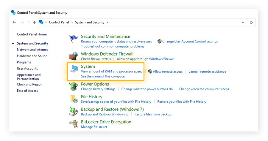The System and Security menu within the Control Panel of Windows 10