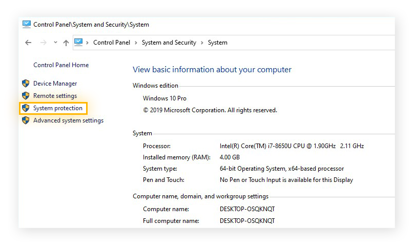 The System menu within the System and Security settings in Windows 10