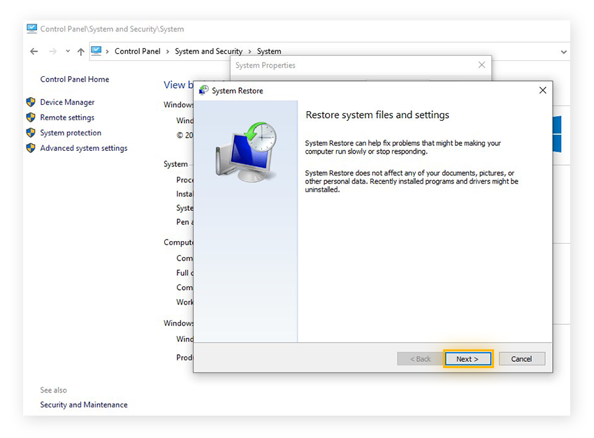 Confirming a System Restore in Windows 10