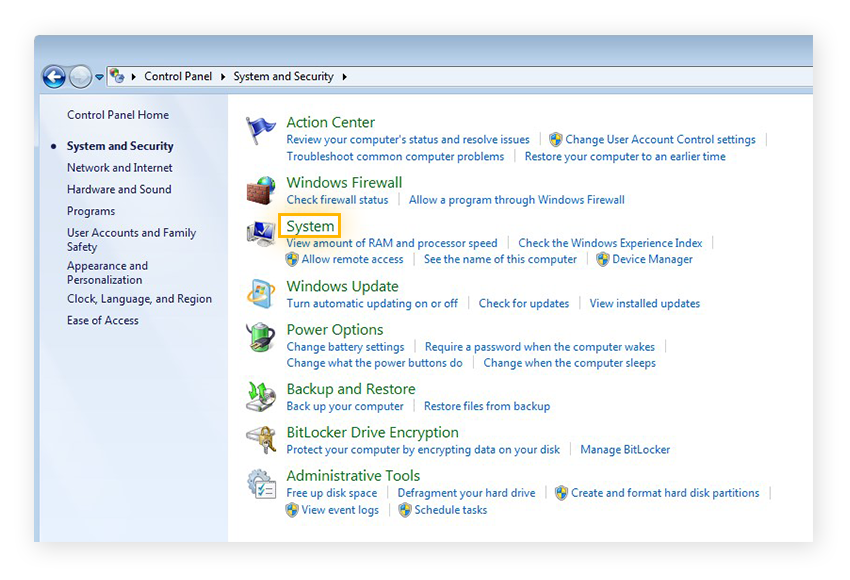 The System and Security menu within the Control Panel of Windows 7 Ultimate