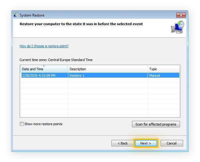 Choosing a restore point for a System Restore in Windows 7 Ultimate