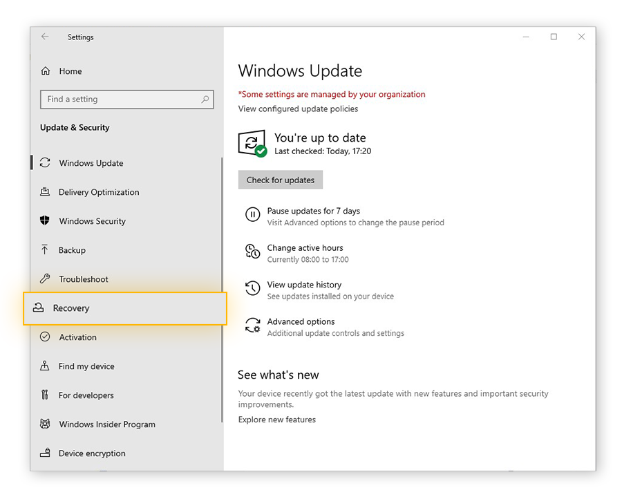 The Update & Security menu in Windows 10