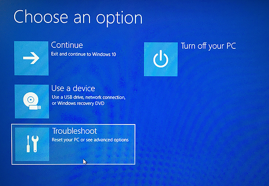 The advanced startup options in Windows 10