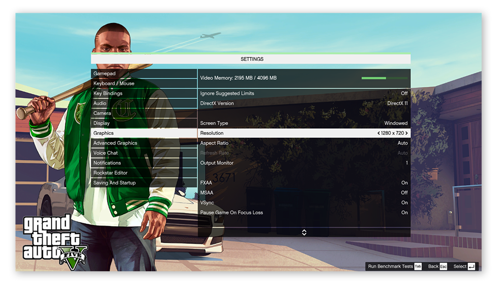 The Graphics settings in the menu for Grand Theft Auto V on Windows 10