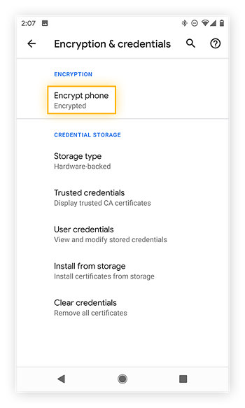 The Encryption & credentials settings in Android 10 on a Google Pixel 2