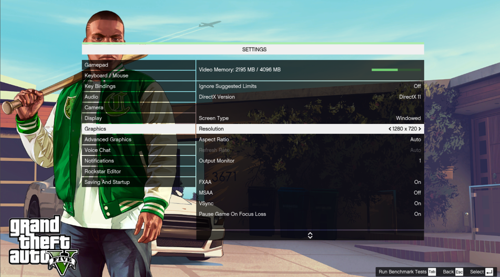 GTA 5 screenshot of the settings