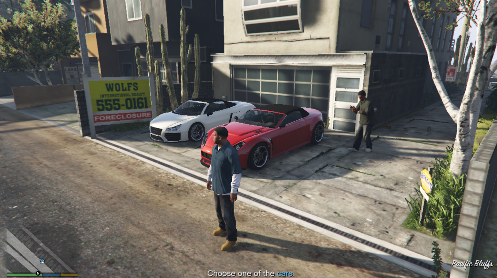 GTA 5 game screenshot with the lowest display settings