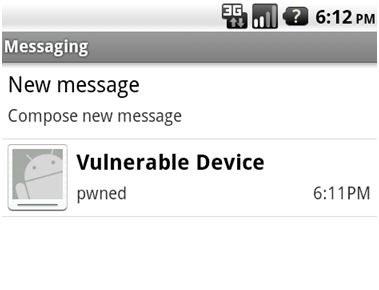 Screenshot vulnerable device message
