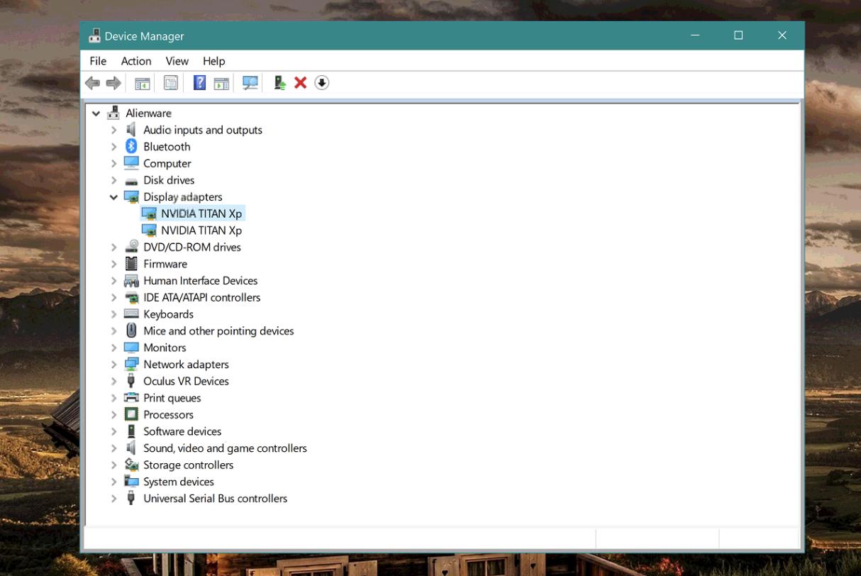 Im Geräte-Manager werden dedizierte NVIDIA Titan Xp-Grafikkarten angezeigt