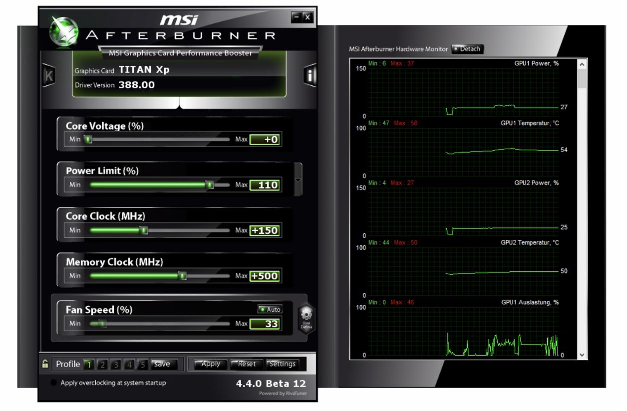 MSI Afterburner used to overclock GPUs