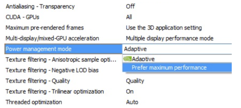 NVIDIA Control Panel: Selecting Maximum Performance