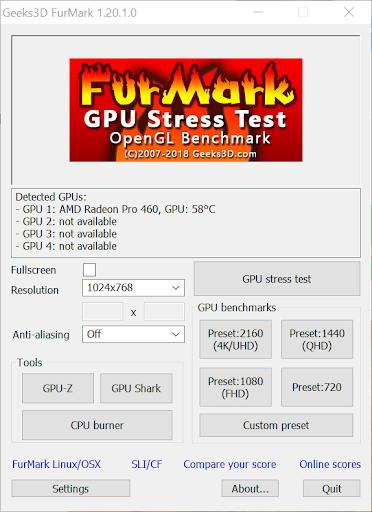 screenshot of the furmark gpu stress test