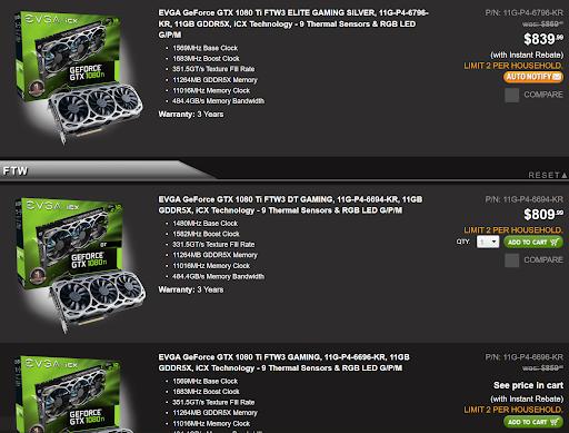 GeForce price comparison screenshot