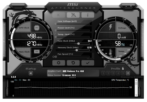 captura de pantalla de msi afterburner