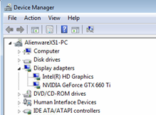 Device Manager window - display adapters