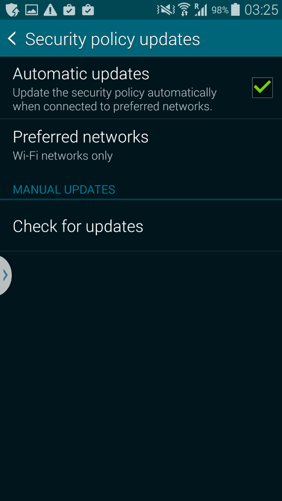 Samsung security screenshot