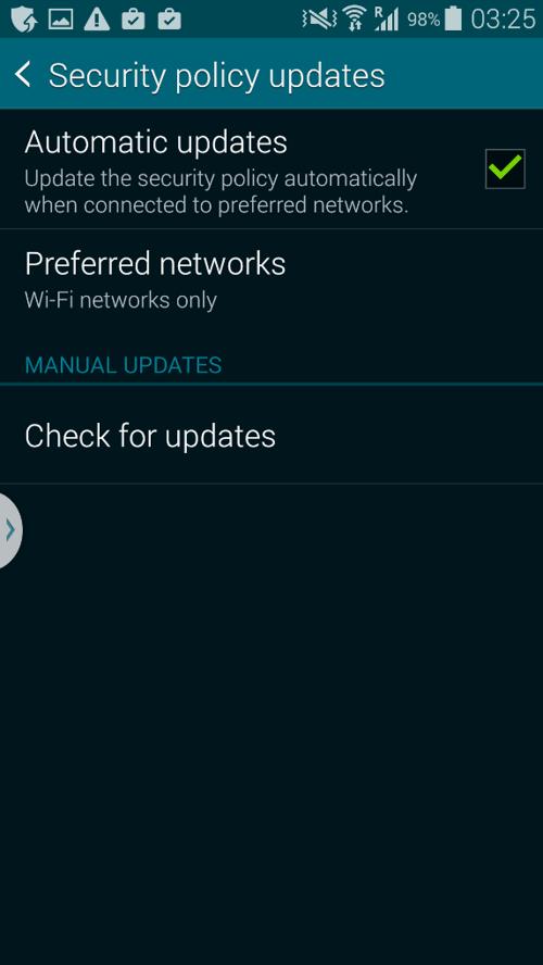 Captura de tela do Samsung Security