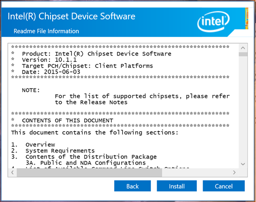 <i>Software</i> de dispositivo <i>chipset</i> de Intel