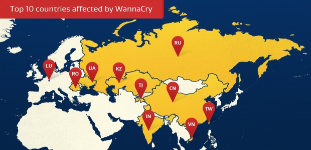 Top 10 countries affected by WannaCry