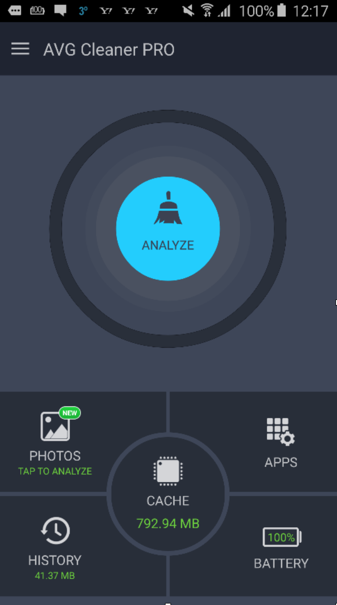 AVG Cleaner PRO - Analyze button screen