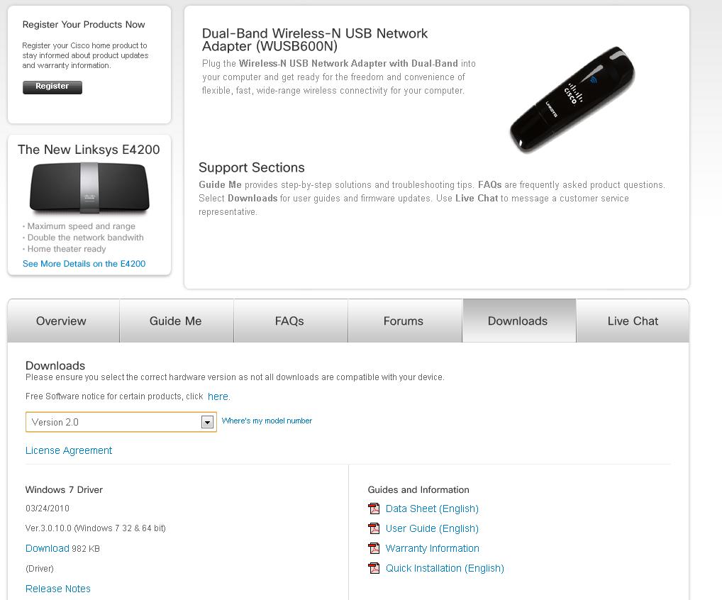 Dual-Band Wireless-N USB Netzwerkadapter– Downloadbereich