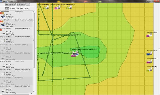 Heatmapper-Karte des Musterhauses mit WLAN-Signal