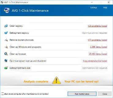 Captura de pantalla de la ventana Mantenimiento con 1clic de AVG