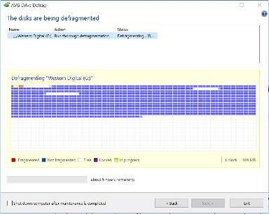 AVG Driver Defrag - The disks are being defragmented window
