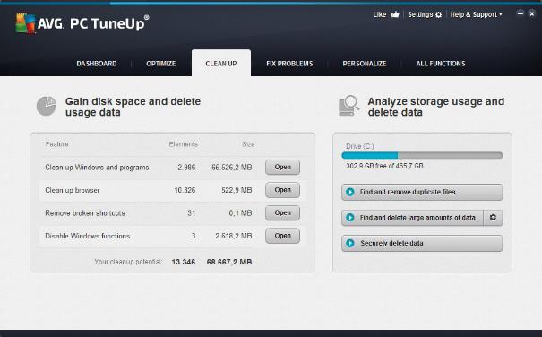 """Benutzeroberfläche von AVG PC TuneUp – Registerkarte """"Bereinigen"""""""
