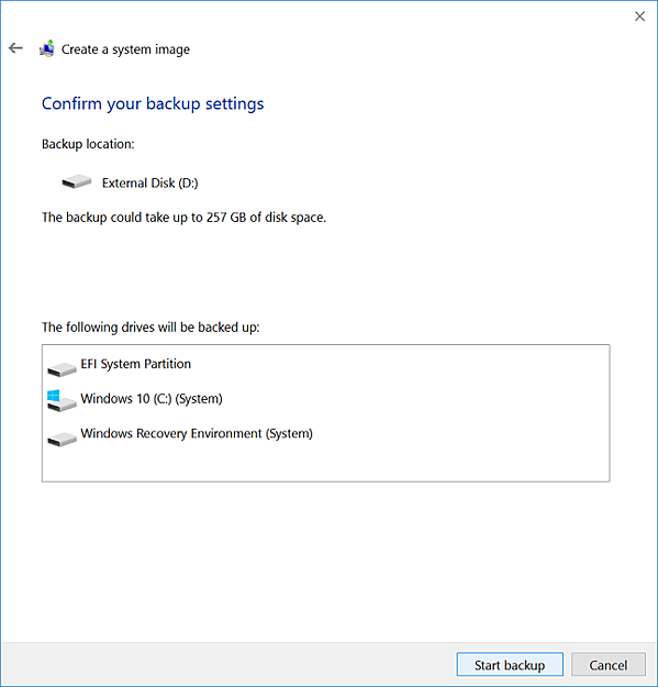 Configure back-up settings