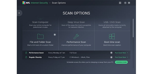 Scan options screen U.I.