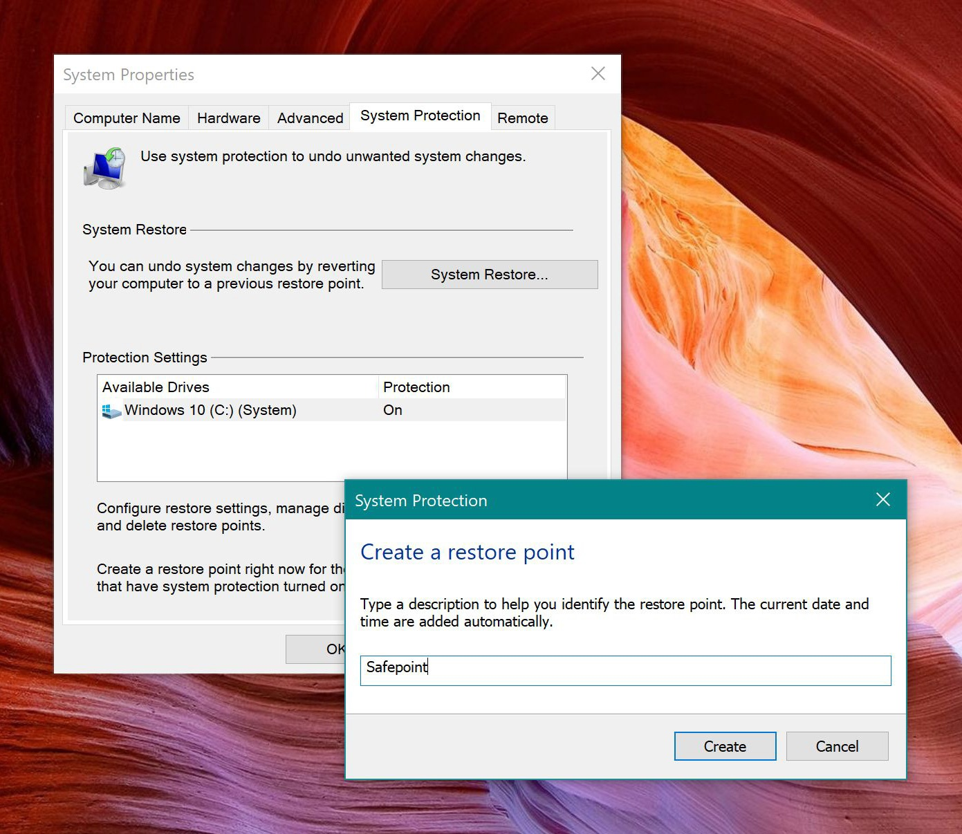 Creating a restore point in Windows