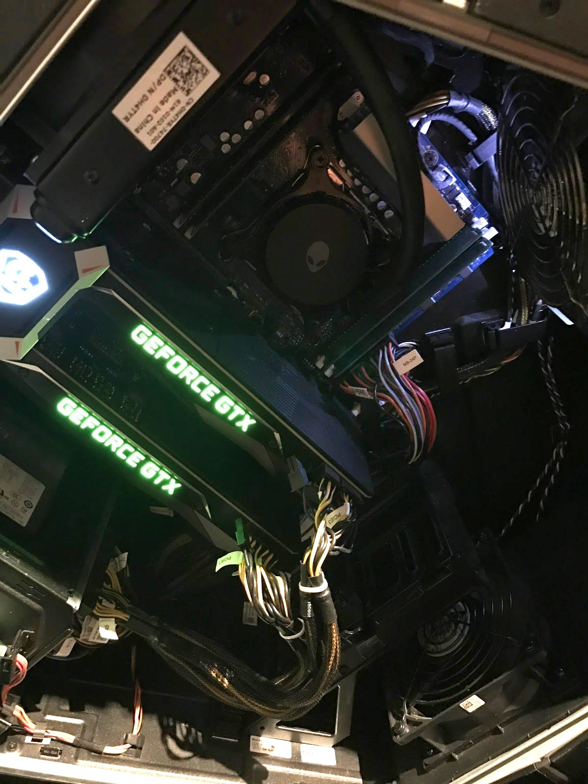 Two GeForce GTX cards in a computer chassis