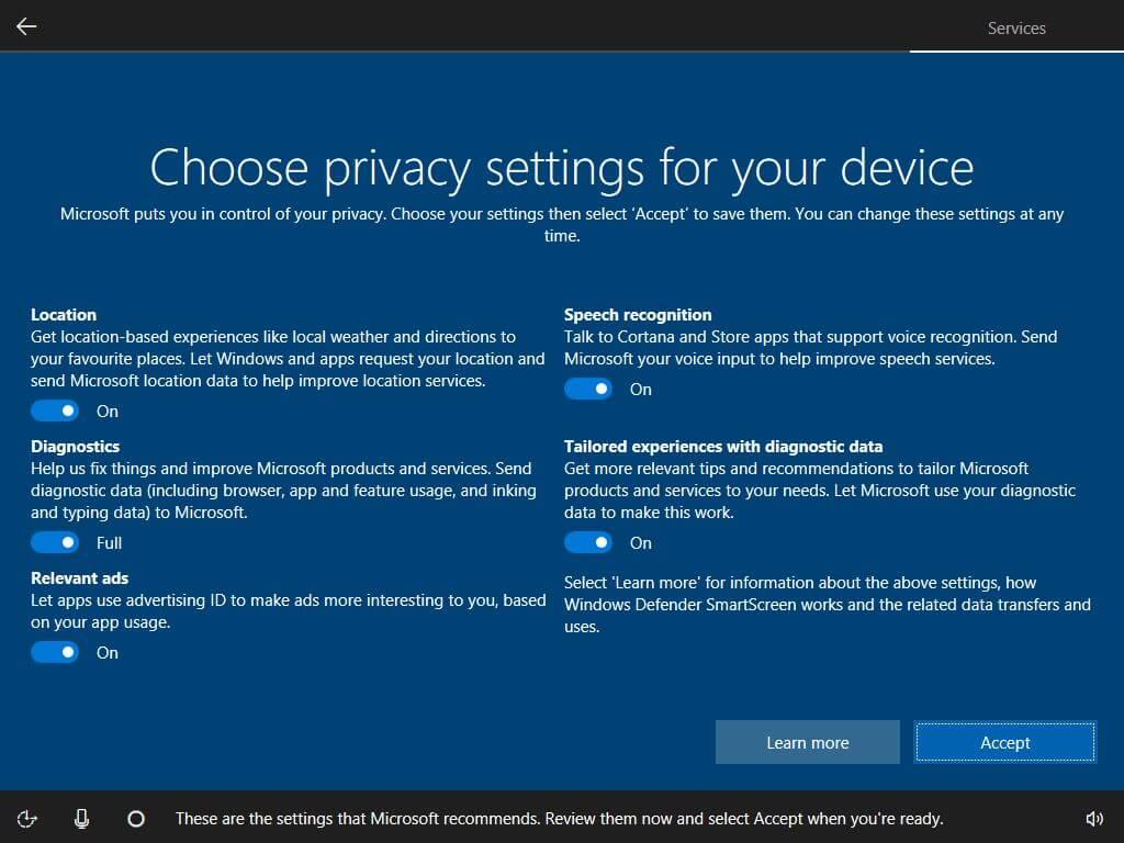 O novo painel de privacidade na configuração inicial do Windows 10
