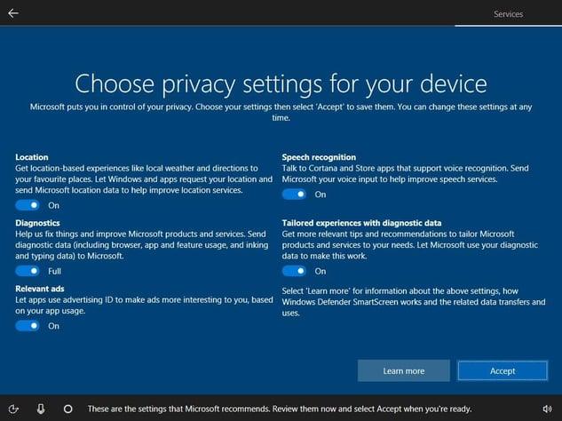Het nieuwe privacydashboard tijdens de eerste installatie van Windows10